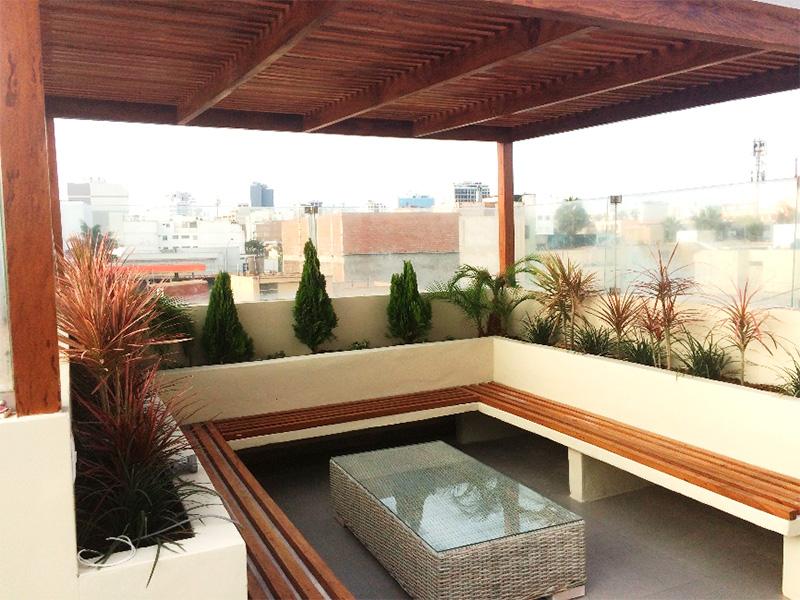 Bancas y jardines para terrazas